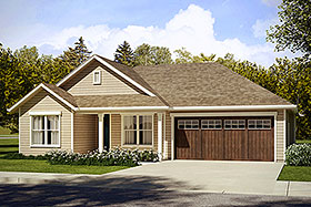 House Plan 41230 | Country Ranch Traditional Style Plan with 1605 Sq Ft, 3 Bedrooms, 2 Bathrooms, 2 Car Garage Elevation