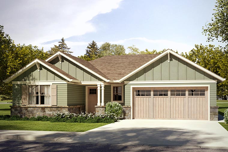 Cottage, Country, Craftsman House Plan 41231 with 3 Beds, 2 Baths, 2 Car Garage Elevation