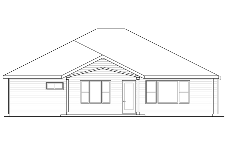 Country Craftsman Ranch House Plan 41232 Rear Elevation
