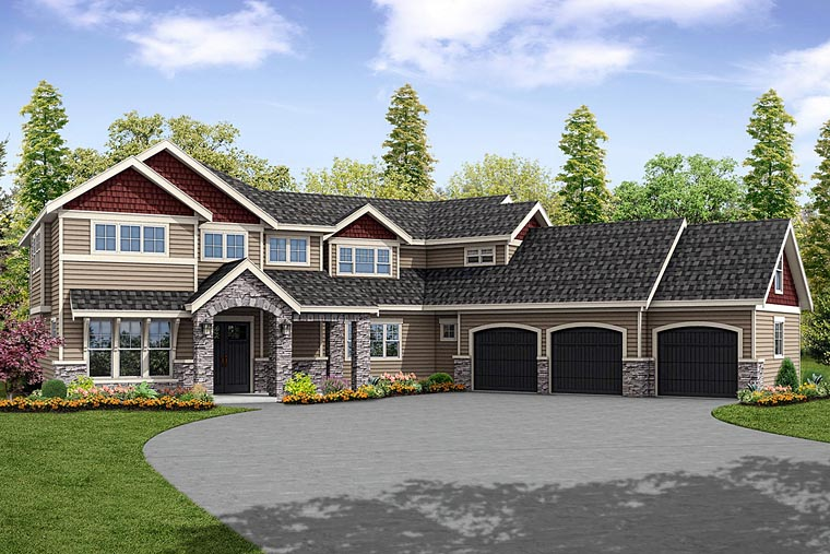 Country, Craftsman, Traditional House Plan 41233 with 4 Beds, 5 Baths, 3 Car Garage Elevation
