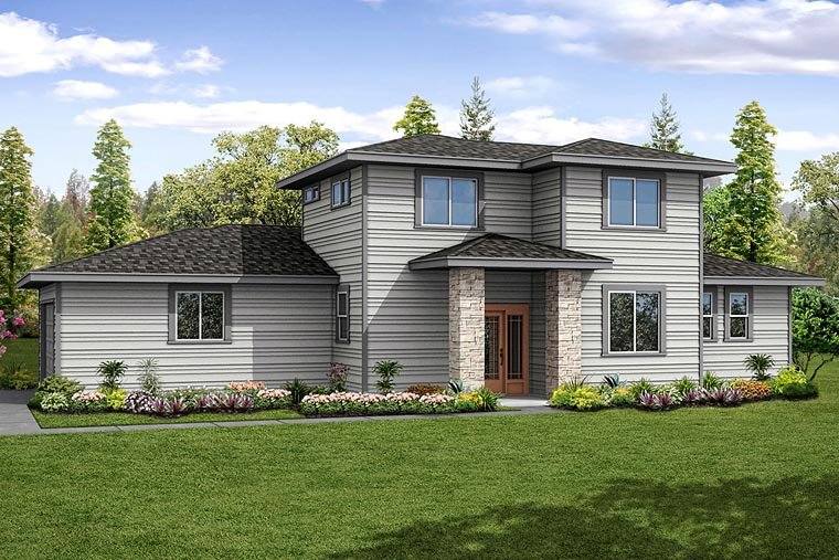 Contemporary Modern Prairie Style Southwest House Plan 41236 Elevation
