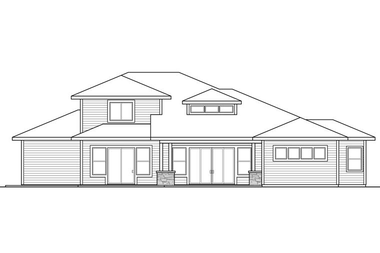 Contemporary Prairie Style Southwest House Plan 41239 Rear Elevation