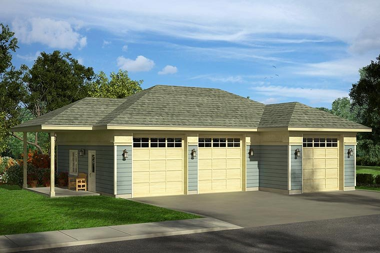 Traditional 4 Car Garage Plan 41247 Elevation
