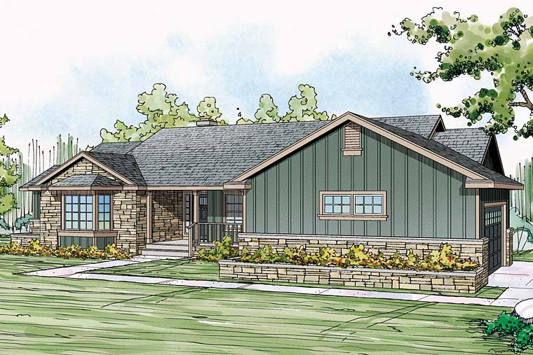 Country, Ranch, Traditional House Plan 41249 with 3 Beds, 3 Baths, 2 Car Garage Elevation