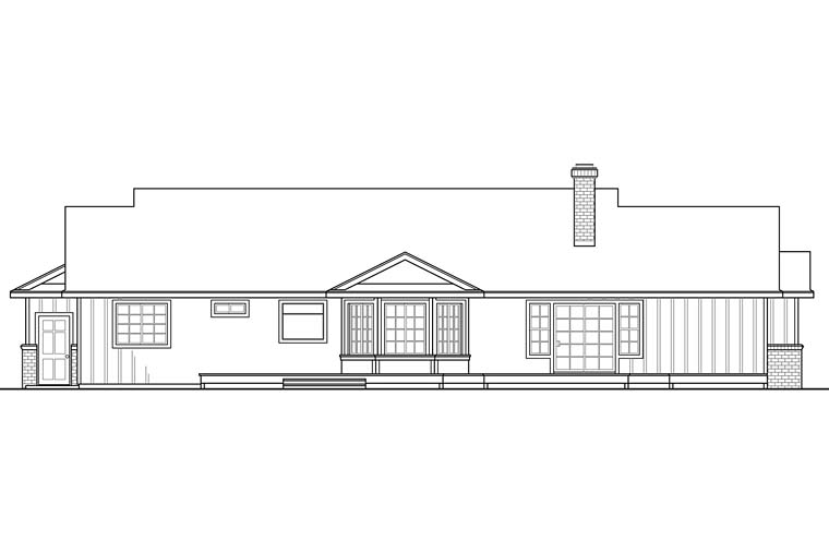 Country, Ranch, Traditional House Plan 41249 with 3 Beds, 3 Baths, 2 Car Garage Rear Elevation
