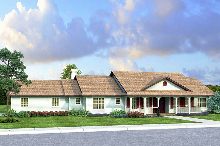 House Plan 41250 | Country Ranch Traditional Style Plan with 2233 Sq Ft, 3 Bedrooms, 3 Bathrooms, 2 Car Garage Elevation