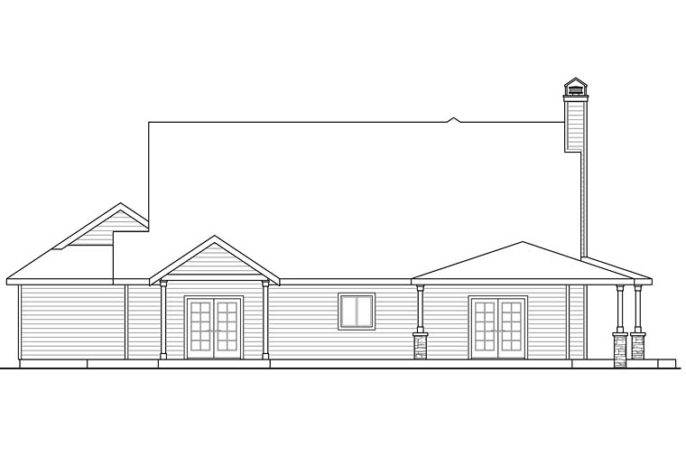 Country Farmhouse Ranch Traditional House Plan 41251 Rear Elevation