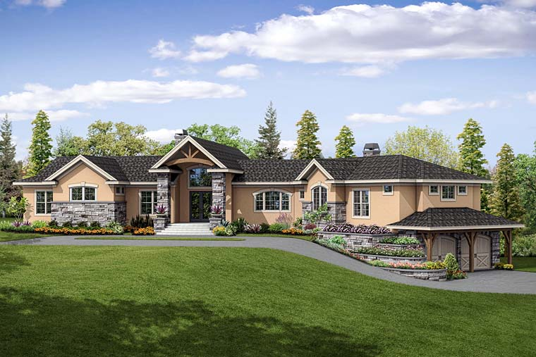 Contemporary European Mediterranean Tuscan House Plan 41254 Elevation