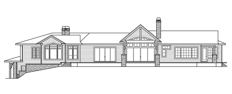Contemporary European Mediterranean Tuscan House Plan 41254 Rear Elevation