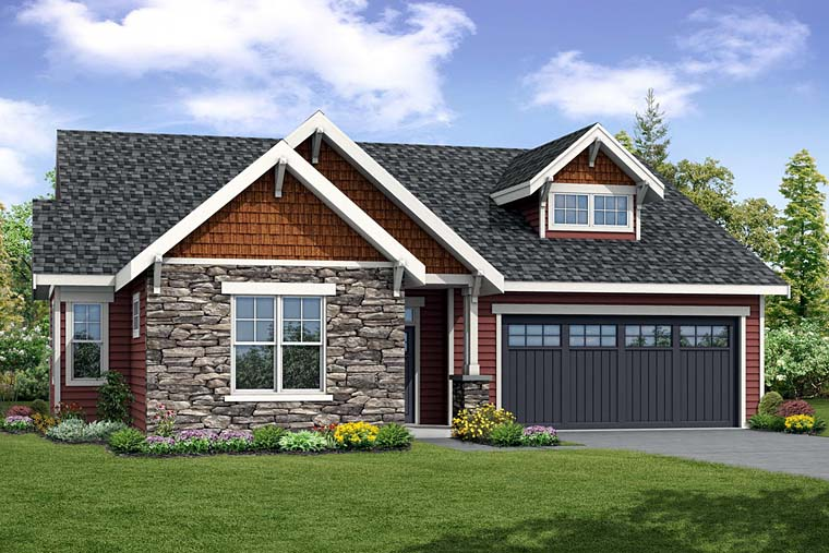 Cottage , Country , Craftsman , Elevation of Plan 41255