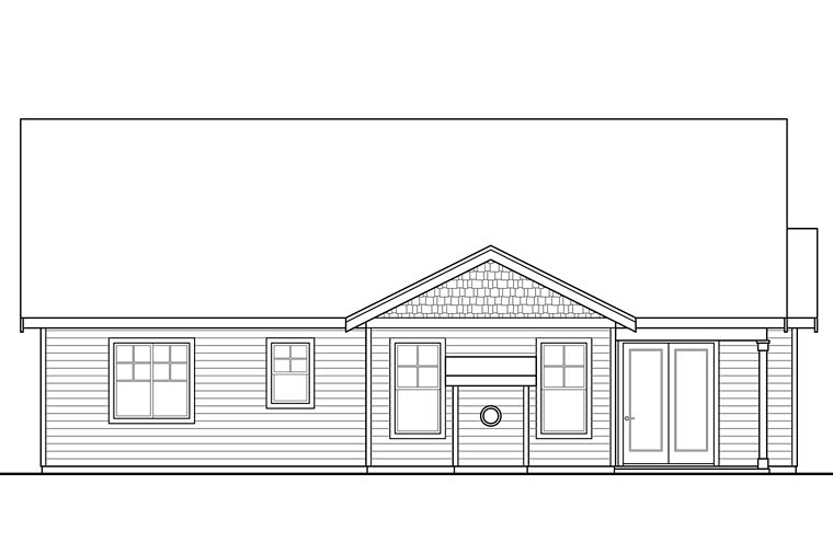 Cottage , Country , Craftsman , Rear Elevation of Plan 41255