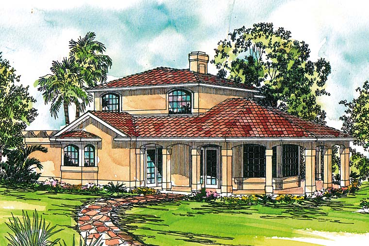 Florida, Mediterranean, Southwest, House Plan 41256 with 2 Beds, 3 Baths Elevation