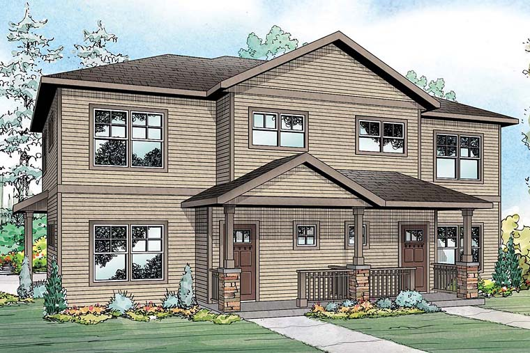 Traditional Multi-Family Plan 41258 Elevation