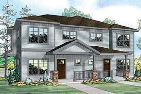 Contemporary Country Prairie Style Ranch Multi-Family Plan 41259 Elevation