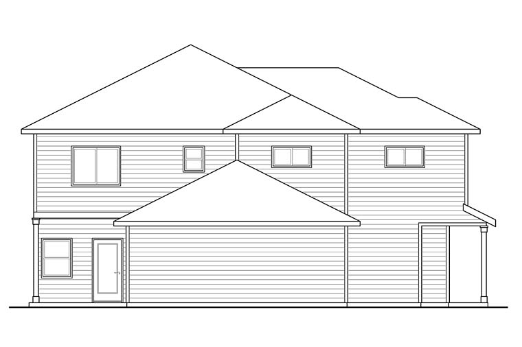 Contemporary Country Prairie Style Ranch Multi-Family Plan 41259 Rear Elevation