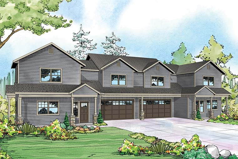 Contemporary , Cottage , Country Multi-Family Plan 41260 with 6 Beds, 6 Baths, 4 Car Garage Elevation