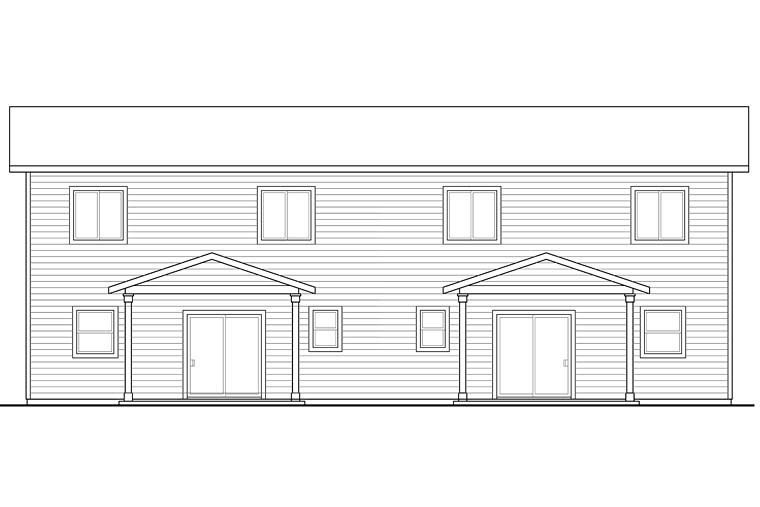 Traditional , Craftsman , Country , Contemporary Multi-Family Plan 41261 with 6 Beds, 6 Baths, 2 Car Garage Rear Elevation