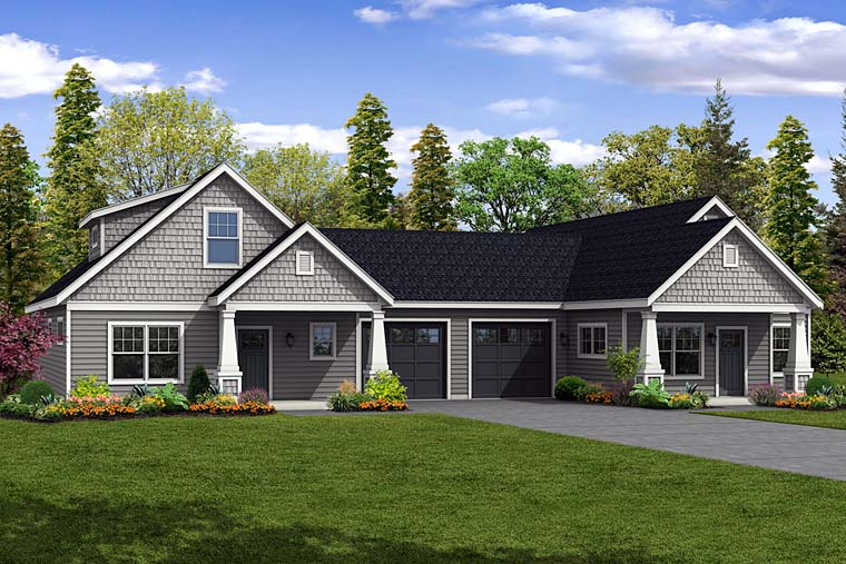 Cottage Country Craftsman Multi-Family Plan 41262 Elevation