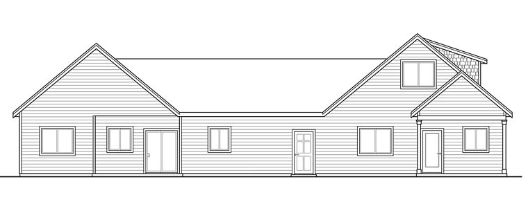 Cottage , Country , Craftsman Multi-Family Plan 41262 with 5 Beds, 4 Baths, 2 Car Garage Rear Elevation