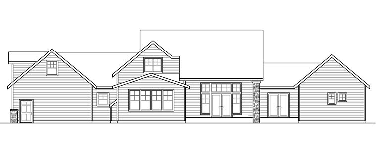 Country Southern Traditional House Plan 41266 Rear Elevation