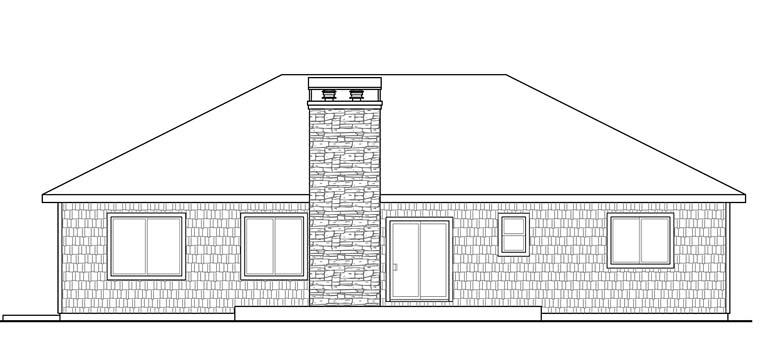 Bungalow Cottage Traditional House Plan 41267 Rear Elevation
