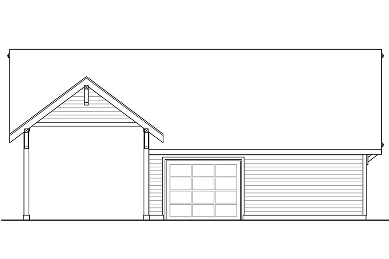 Craftsman Ranch Traditional Rear Elevation of Plan 41273