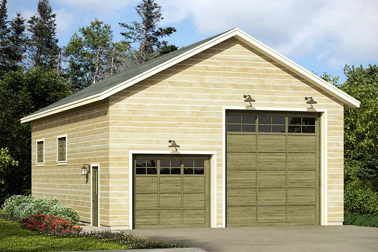 Traditional 3 Car Garage Plan 41274, RV Storage Elevation
