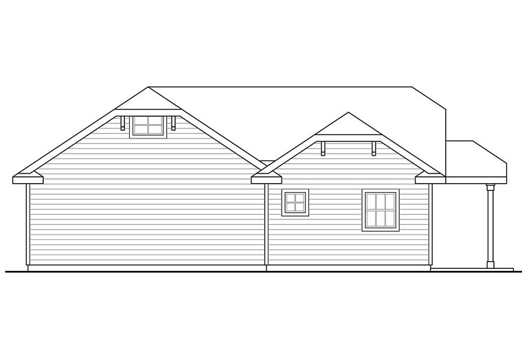 Cottage Country Rear Elevation of Plan 41276