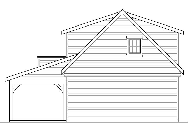 Country , Southern , Traditional 2 Car Garage Plan 41277, 1 Baths Rear Elevation