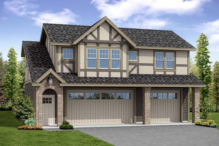 Traditional, Tudor 2 Car Garage Apartment Plan 41280 with 1 Beds , 1 Baths Elevation