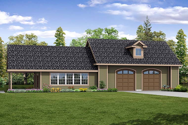 Ranch, Traditional 2 Car Garage Plan 41283 with 1 Beds, 1 Baths Elevation