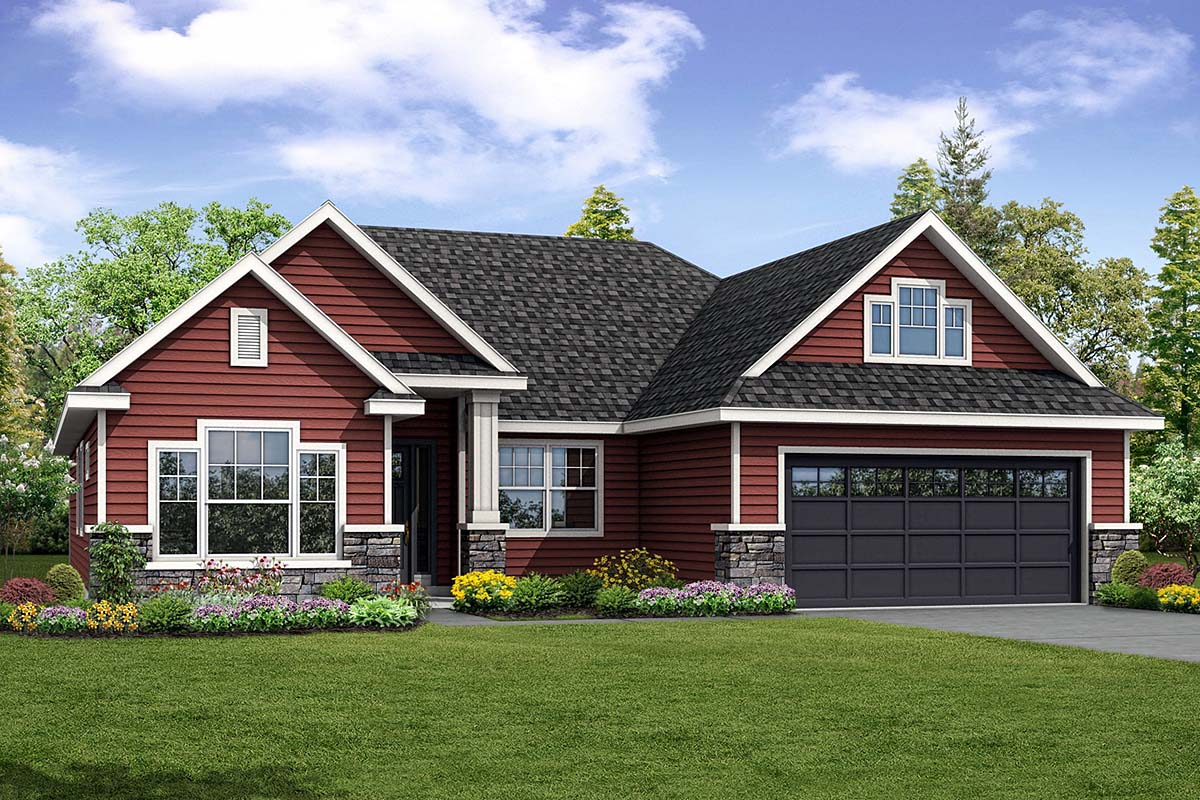 Country, Ranch, Traditional House Plan 41285 with 3 Beds, 3 Baths, 2 Car Garage Elevation
