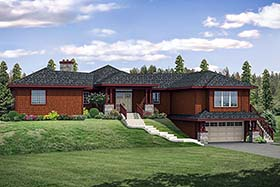 House Plan 41286 | Contemporary Southwest Style Plan with 2585 Sq Ft, 3 Bed, 2 Bath, 2 Car Garage Elevation