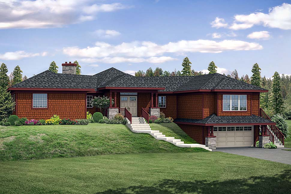Contemporary , Southwest House Plan 41286 with 3 Beds, 2 Baths, 2 Car Garage Elevation