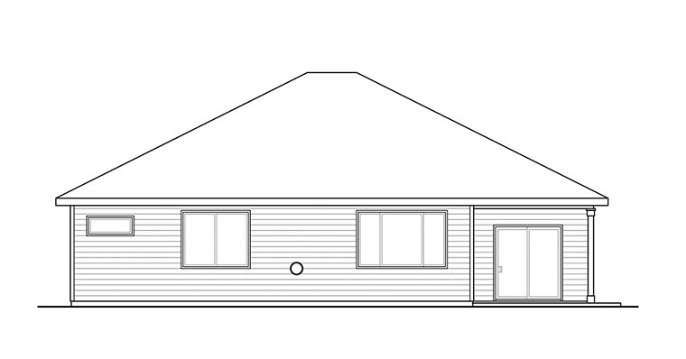House Plan 41299 | Ranch Traditional Style Plan with 2004 Sq Ft, 3 Bedrooms, 2 Bathrooms, 2 Car Garage Rear Elevation