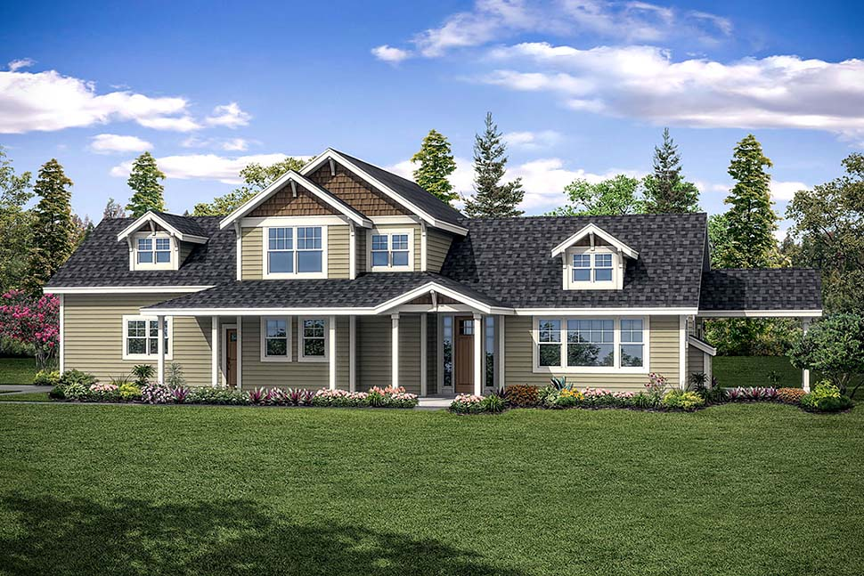 House Plan 41301 | Country, Traditional Style House Plan with 1935 Sq Ft, 3 Bed, 3 Bath, 2 Car Garage Elevation