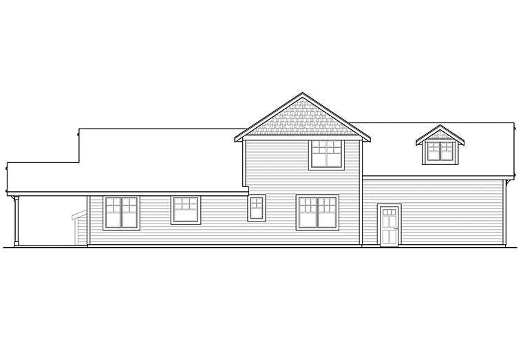 House Plan 41301 | Country, Traditional Style House Plan with 1935 Sq Ft, 3 Bed, 3 Bath, 2 Car Garage Rear Elevation