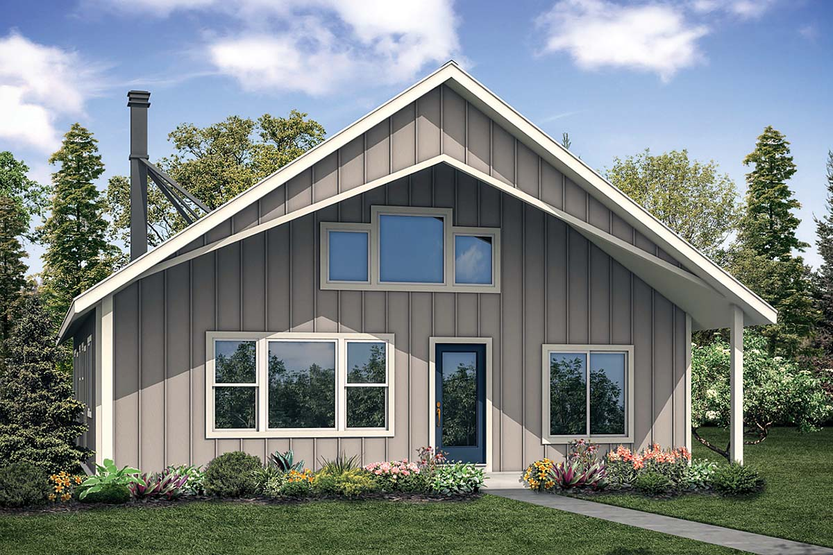 Cabin, Contemporary House Plan 41302 with 2 Beds, 2 Baths