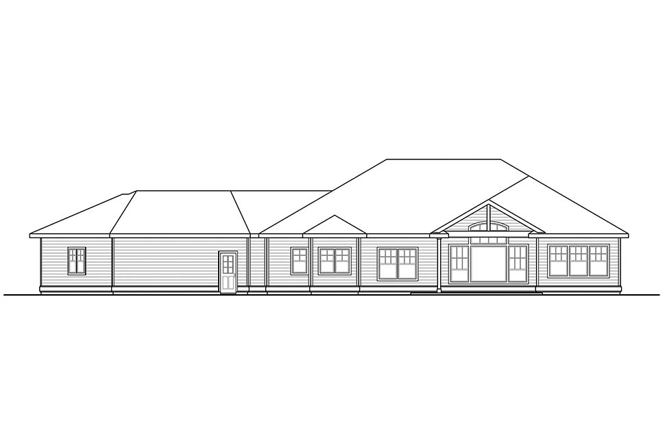 House Plan 41310 | European Traditional Style Plan with 2663 Sq Ft, 3 Bedrooms, 3 Bathrooms, 3 Car Garage Rear Elevation