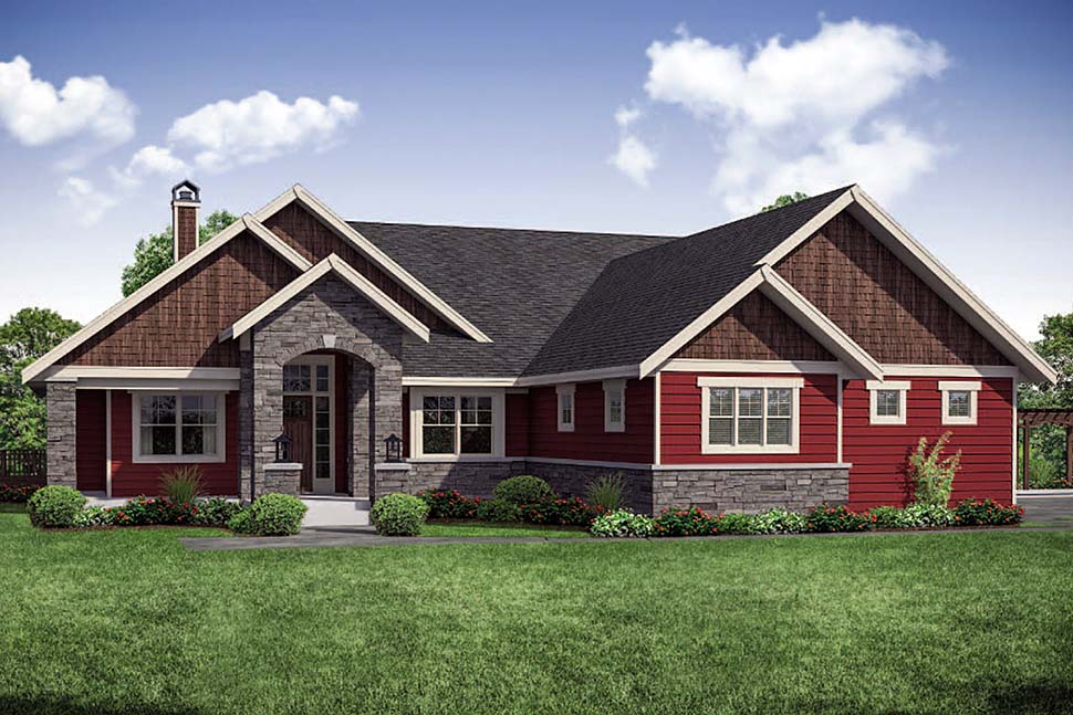 House Plan 41311 | Craftsman Traditional Style Plan with 3848 Sq Ft, 3 Bedrooms, 2 Bathrooms, 4 Car Garage Elevation