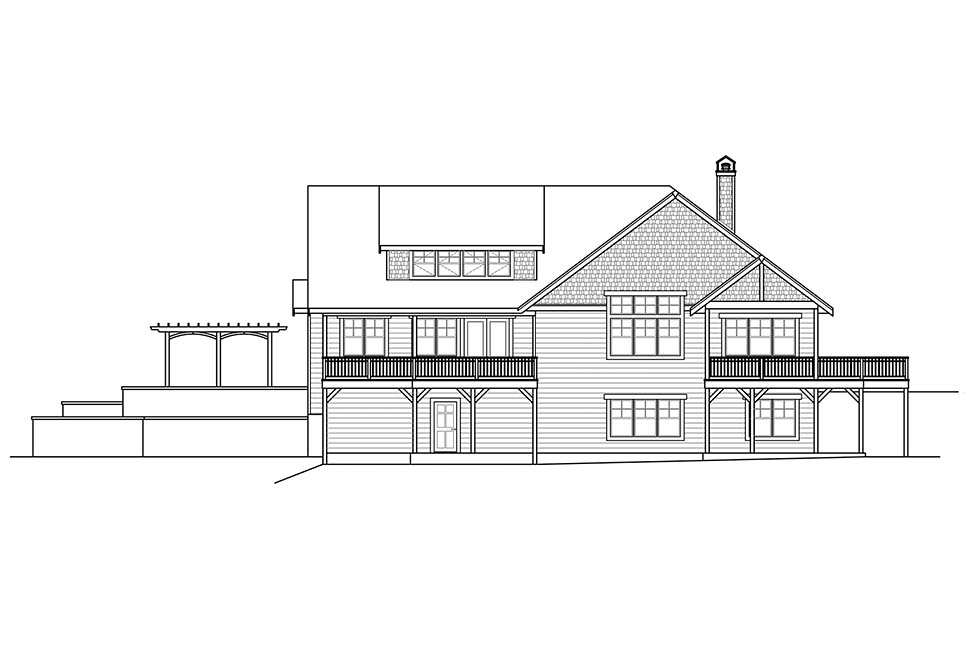 House Plan 41311 | Craftsman Traditional Style Plan with 3848 Sq Ft, 3 Bedrooms, 2 Bathrooms, 4 Car Garage Rear Elevation
