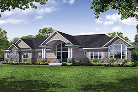 House Plan 41312 | Ranch Traditional Style Plan with 3495 Sq Ft, 3 Bedrooms, 4 Bathrooms, 3 Car Garage Elevation