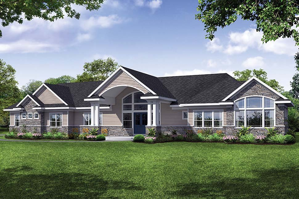Ranch , Traditional House Plan 41312 with 3 Beds, 4 Baths, 3 Car Garage Elevation