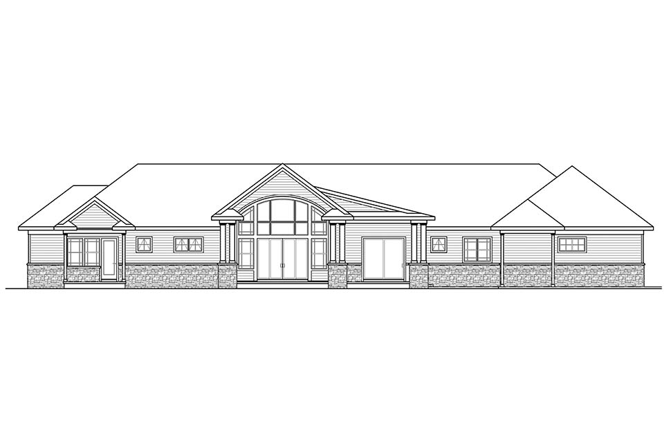 Ranch , Traditional House Plan 41312 with 3 Beds, 4 Baths, 3 Car Garage Rear Elevation