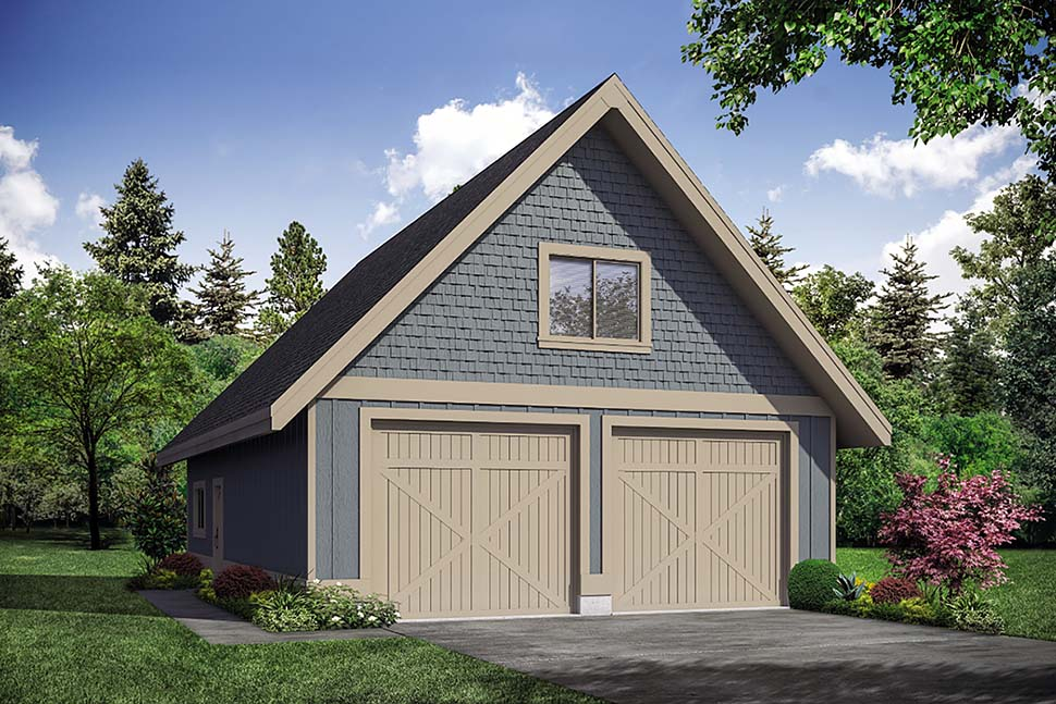 Traditional 2 Car Garage Plan 41313 Elevation