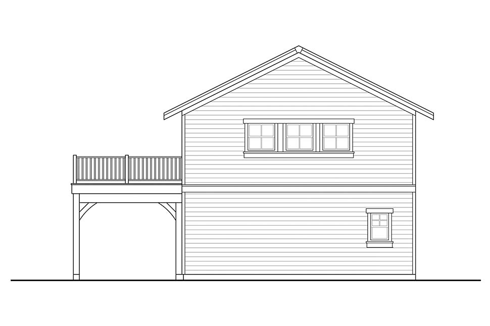 Craftsman, Traditional 2 Car Garage Apartment Plan 41315 Rear Elevation