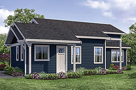 House Plan 41317 | Cabin Country Traditional Style Plan with 1080 Sq Ft, 2 Bedrooms, 1 Bathrooms Elevation