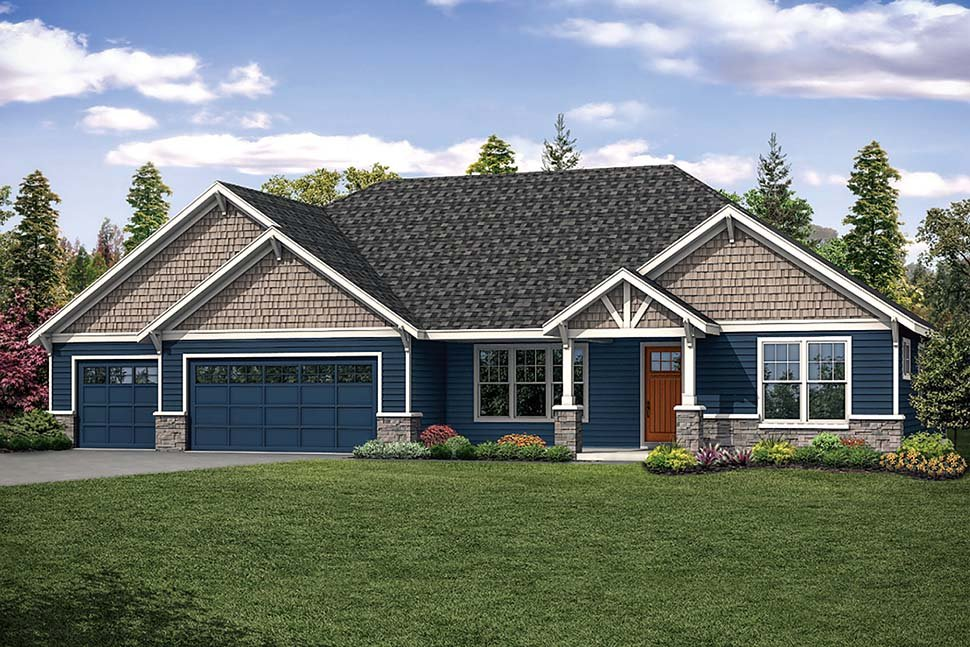 Craftsman, Ranch House Plan 41318 with 4 Beds, 3 Baths, 3 Car Garage Elevation