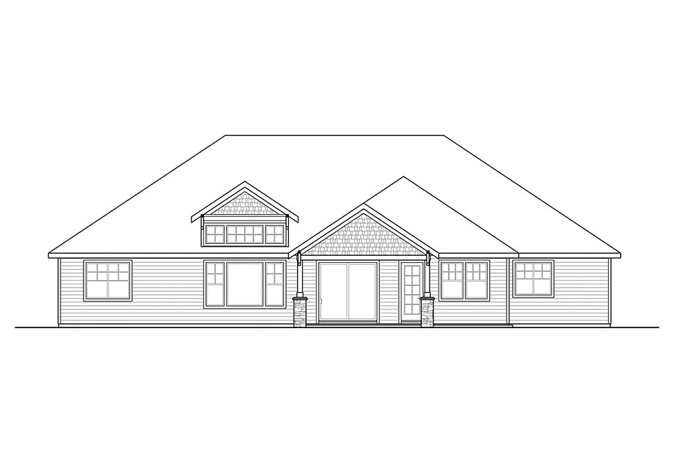 Craftsman, Ranch House Plan 41318 with 4 Beds, 3 Baths, 3 Car Garage Rear Elevation