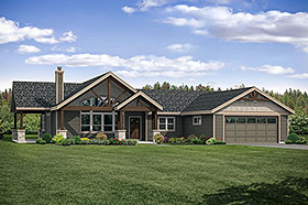 House Plan 41320 | Craftsman Ranch Traditional Style Plan with 1990 Sq Ft, 3 Bedrooms, 3 Bathrooms, 2 Car Garage Elevation